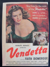 Vendetta (1950) - Faith Domergue | Vintage Trade Ad